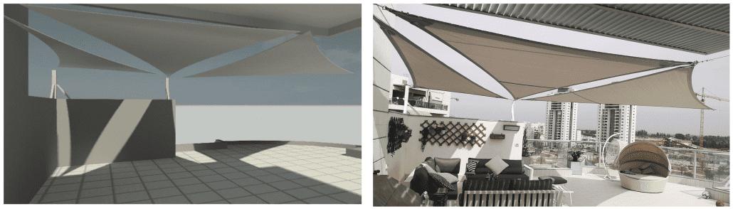 התקנת מפרשי צל בגג בהתאים להדמיה ממוחשבת
